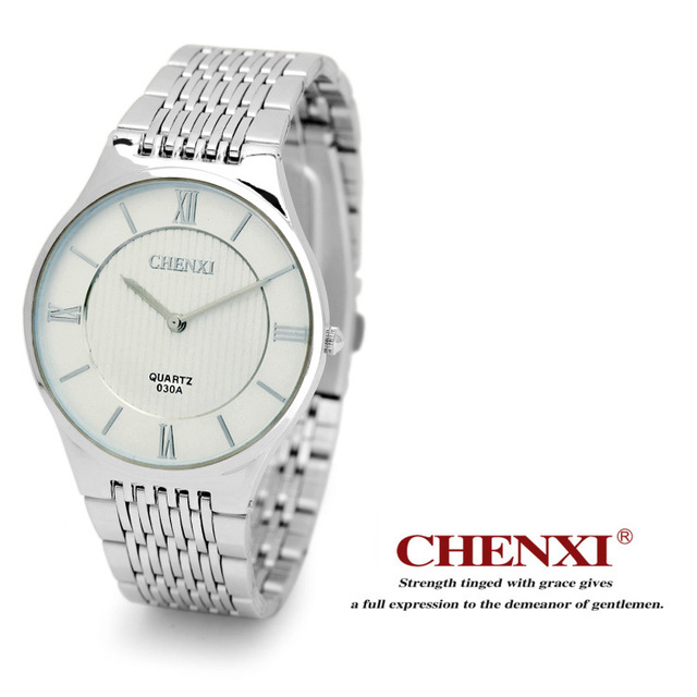 CHENXI Minimalism Ultra Thin Women Men Watches Silver Stainless Steel Lover's Ja
