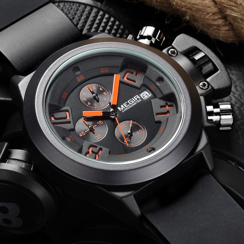 Prix pour Casual nouvelle mode militaire styligh megir marque conception armée cool homme mâle horloge sport en caoutchouc d'affaires de luxe poignet quartz montre
