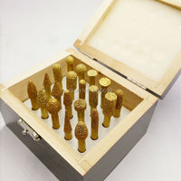 YIYAN 20pcs/set 6mm shank vacuum brazed diamond burrs set rotary die grinder points burs for stone granite and concrete