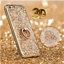 XINGDUO Mobile Phone Case For iPhone XS MAX XR 5 5s 6 6s 7 8 Plus Silicone Plating Diamond Ring Stand Luxury Shell