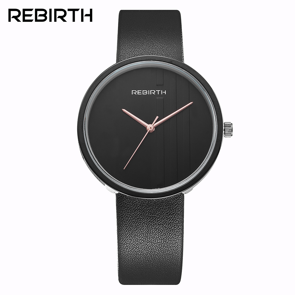 Women Watch REBIRTH Luxury Top Brand Fashion Casual Watch Women Clock Leather Black Simple Fashion Watch Ladies Relogio Feminino meibo brand fashion women hollow flower wristwatch luxury leather strap quartz watch relogio feminino drop shipping gift 2012