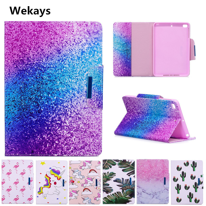 Wekays Case for Apple IPad Mini 4 Cute Cartoon Flamingo Unicorn PU Flip Leather Cover Case For iPad Mini 4 Mini4 model Fundas