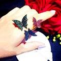 Europa marca desgin Cor cristal strass anéis mulheres anéis exagerados feminino borboleta Anel aberto ajustável presente requintado