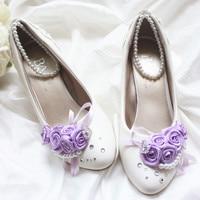 2014 New Wedding Shoes Romantic White Purple Rhinestone Flower Decoration Sweet Handmade Wedding Shoes White