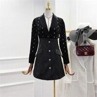 2018 Winter New Women's High Quality V Collar Dress Fashion Hot Diamond Velvet Patch Satin Dress Ladies Vestido De Festa Femme