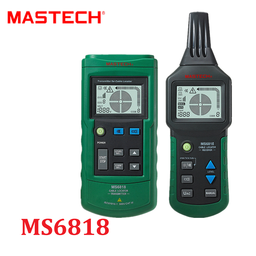 Mastech MS6818 Advanced Wire Cable Tracker Metal Pipe Locator Detector Tester Line Tracker Voltage12~400V CABLE LOCATOR RECEIVER