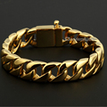 Davieslee 15mm Wide Gold Plated Round Curb Cuban  316L Stainless Steel Bracelet Mens Boys Unisex Jewelry Dropshipping DLHB123