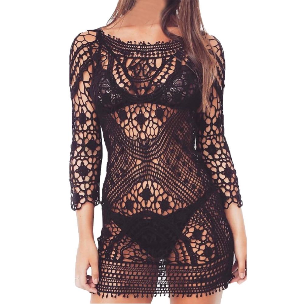 Sexy Beach Cover up Crochet Swimwear Dress Ladies Bathing Suit Cover up Beach bathing suit women one piece sleeve swim suit may