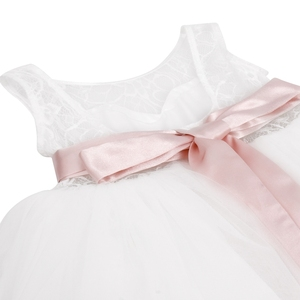 Image 5 - TiaoBug Çocuk Kız Beyaz Backless Çiçek Kız Elbise Doğum Günü Partisi Prenses Elbise Tül Pageant Elbise 2 12