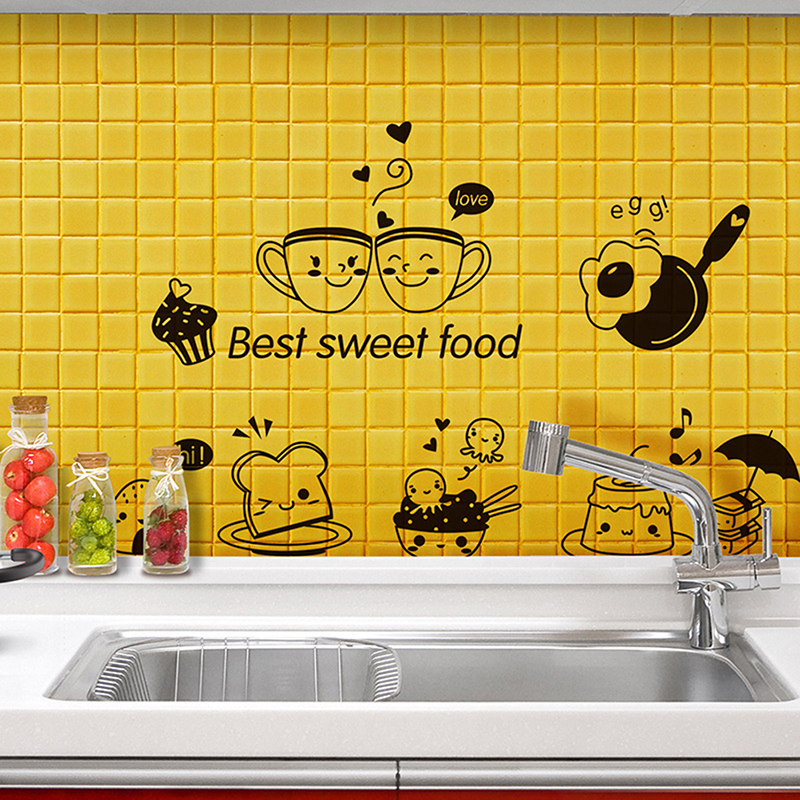 1pc Removable Wall Painting Room Wall Paper Decoration Restaurant Kitchen Happy Western Food Refrigerator Coffee Pattern