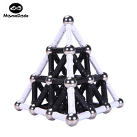 White Black Magnet Sticks Bars 12MM Metal Balls Magnetic Building Blocks Toys For Kids Designer Construction