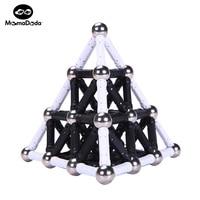 White Black Magnet Sticks Bars 12MM Metal Balls Magnetic Building Blocks Toys For Kids Designer Construction