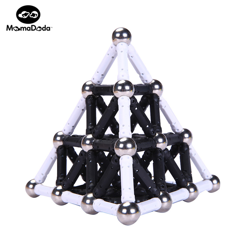 White Black Magnet Sticks Barer & 12MM Metal Balls Magnetic Building Blocks Leksaker För Kids Designer Construction Christmas Gift