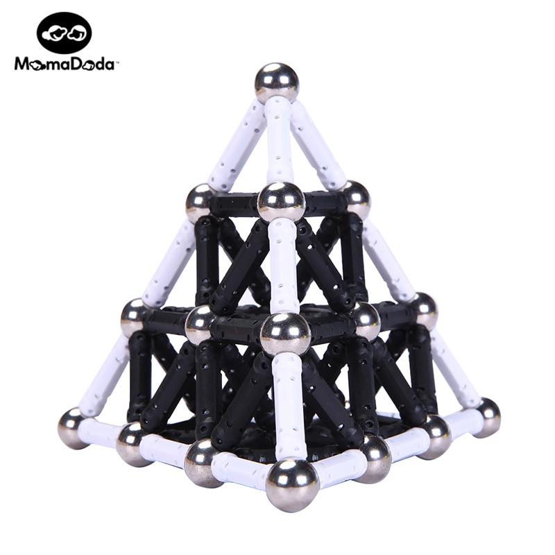 Blanco Imán Negro Palos Barras y 12 MM Bolas de Metal Bloques de Construcción Magnéticos Juguetes Para Niños Diseñador Construcción Regalo de Navidad