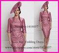 Elegante rosa velho curto mãe da noiva vestidos com jaqueta bainha Plus Size vestido de madrinha LO190