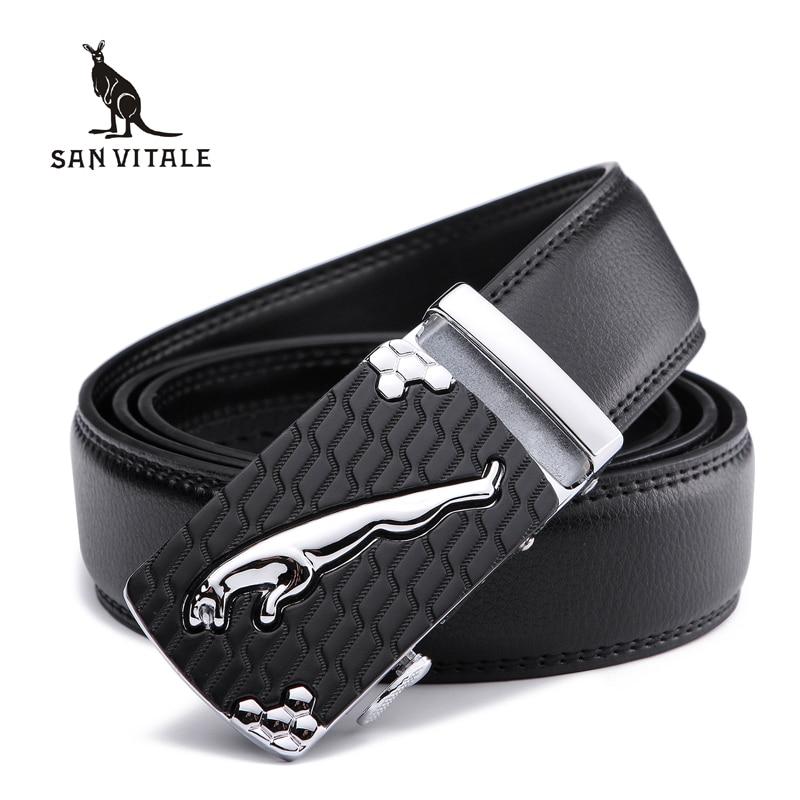 SAN VITALE חגורות גברים עור אמיתי יוקרתית רצועה חגורה חגורת גבר עבור אדם אוטומטי באקל ג 'ינס Cintos מסקולינוס סינטורה