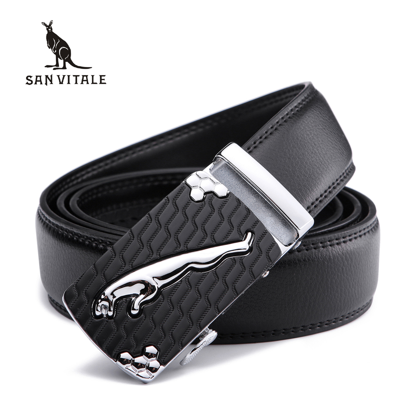 SAN VITALE Men Belts Genuine Leather Luxury Designer Strap Male Belt for Man Automatic Buckle Jeans Cintos Masculinos Ceinture