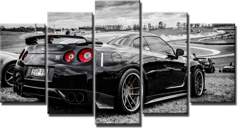 5 piece canvas art nissan gtr car canvas paintingwall art painting for living room decoration for