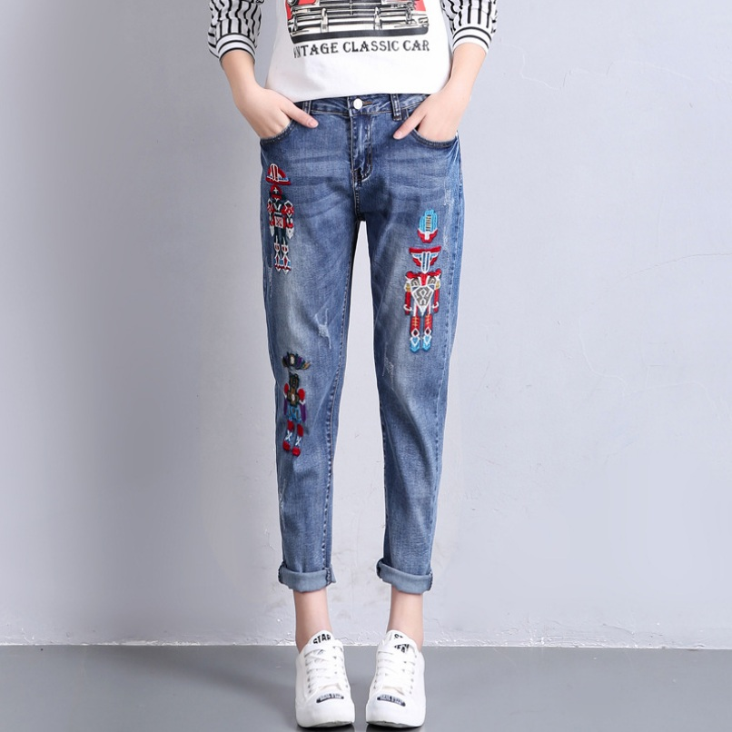 Women Bleached Ankle Length Denim Pants Robot Embroidery Harem Jeans 2017 Summer Plus Size Slim Pencil