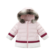 2016 Girls Autumn Winter Warm White Duck Down Hooded Coat Baby Girls Outwear & Parkas 18M-7T