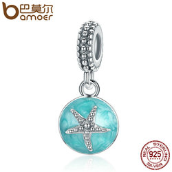BAMOER Summer Collection 925 Sterling Silver Clear CZ Starfish & Sea Green Enamel Pendant Charm fit Bracelet Jewelry S925 SCC136