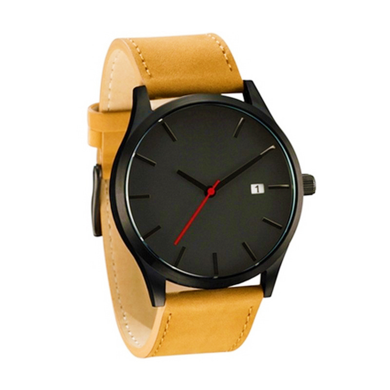 Fashion Business Quartz Large Dial Watch For Men 39 s Matte Belt Wrist Watches watch strap leather relojes in Quartz Watches from Watches