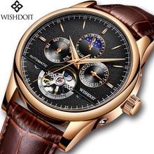 лучшая цена 2018 NEW Men Watches Automatic Mechanical Watch Tourbillon Sport Clock Leather Casual Business Retro Wristwatch Relojes Hombre