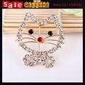 Bonito hello kitty cat animal padrão banhado a ouro broche de cristal cheio para as mulheres da menina roupas vestido terno presente do xaile do lenço