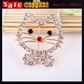 Cute Hello Kitty Animal Cat Pattern  Gold Plated Full Crystal Brooch for Women Girl's Clothing Dress Suit Scarf Shawl Gift