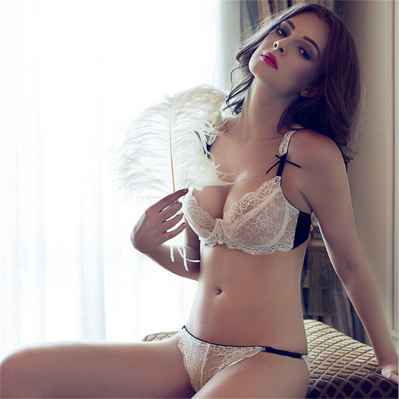 fashion sexy   bra   breathable underwear   set   lace ultra-thin transparent women's   bra     set