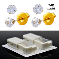 Real Solid Yellow Gold Stud Earrings Disposable Ear Piercing Units Piercing Gun Tool Kit No Cross Infection For Sensitive Ears
