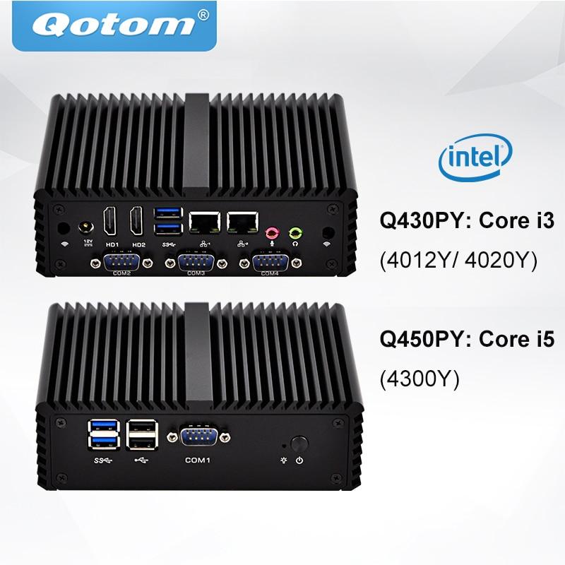 QOTOM Fanless Mini Industrial PC Core I3 I5 Processor TDP 11.5W 4x RS-232 2x HD Type Ports Dual NIC Mini PC Win 7/8/10 Linux
