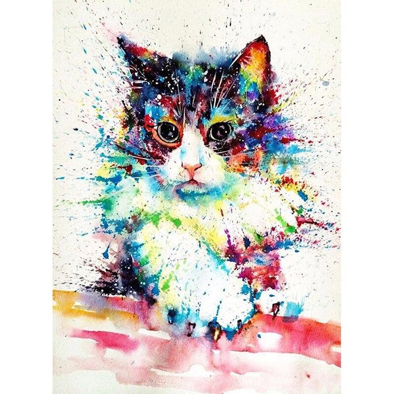 Картинка кошка в краске