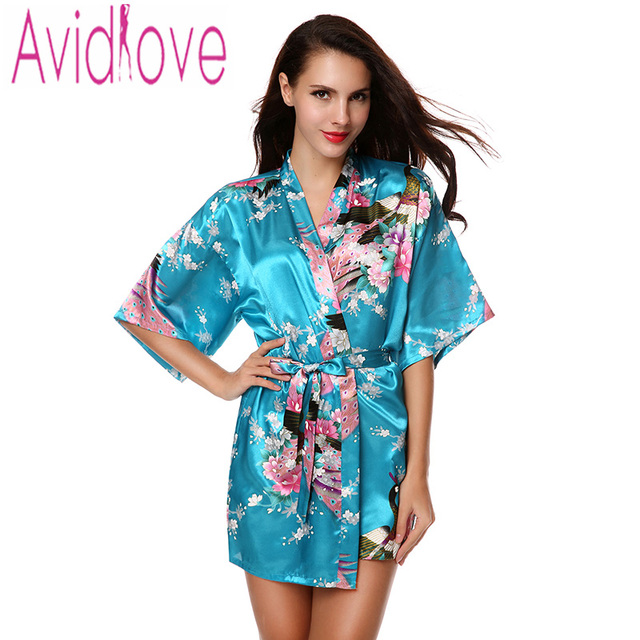 Printed Robe Faux Silk Satin Short Kimono Sexy Bathrobe