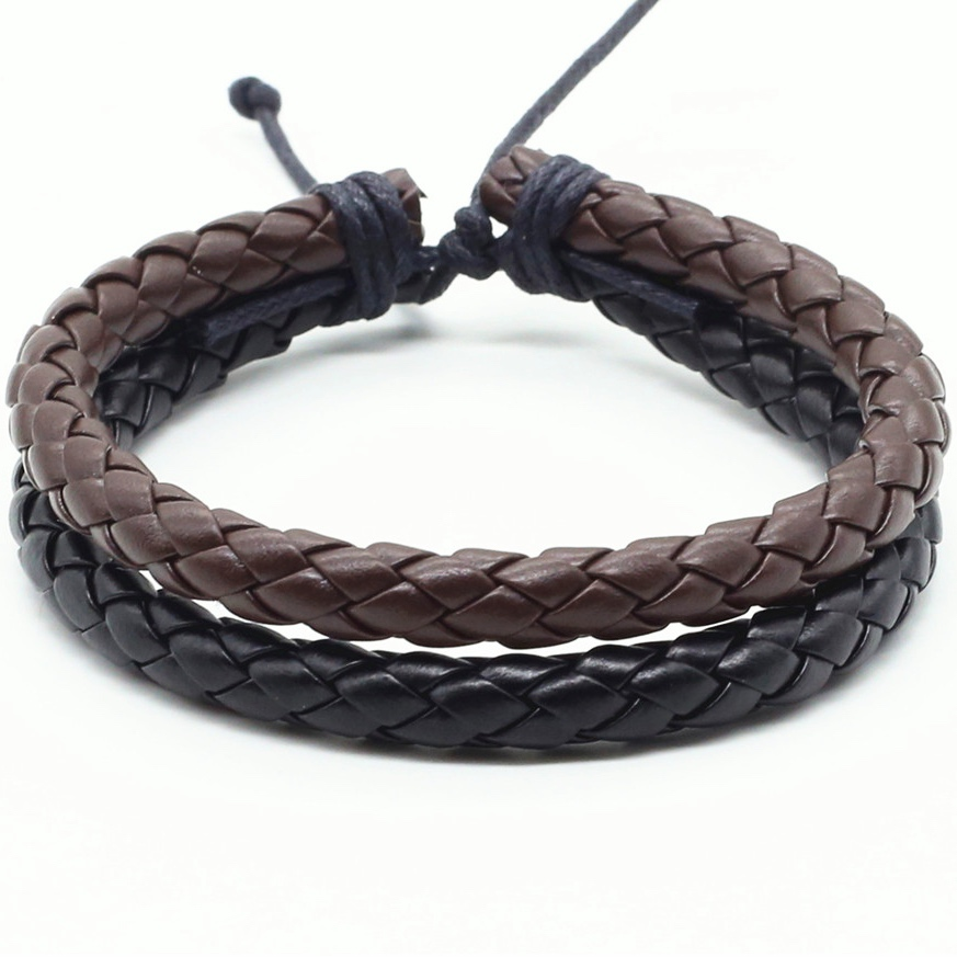 New Fashion Casual Vintage Punk 2 Layer Brown Black Handmade Weave PU Leather Men Bracelets For Women Homme Men Jewelry
