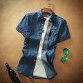 2017 Мода Лето Мужчины Сплошной Цвет Denim Camisa Рубашка Повседневная Оксфорд Квадратный Воротник Однобортный Рубашки Мужские Одежды ДМ