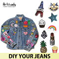 Artilady fashion denim vintage jean jacket with star rainbow anchor patches DIY with iron sequins embroidered mix jewelry pins