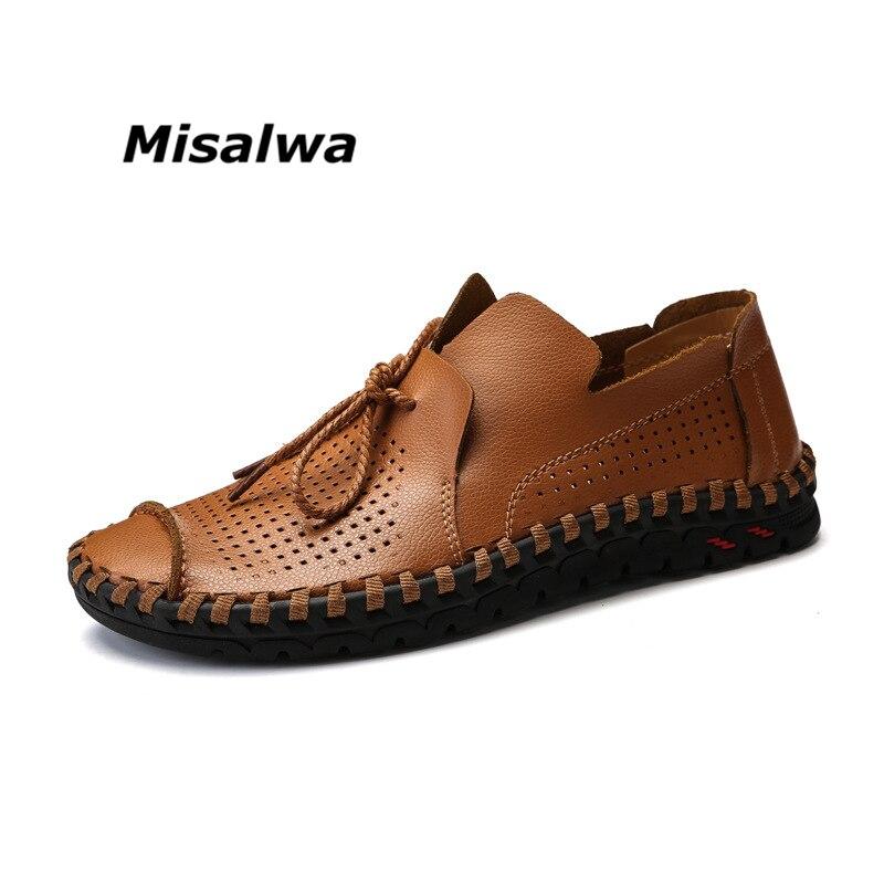 Misalwa Hommes de Noir Brun New Casual Mocassins Bateau Pêcheur Chaussures Mâle Blanc Slip-sur Jaune En Cuir Big Plus taille Élégant Chaussures