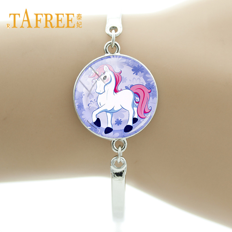 TAFREE Glass Dome Cute Cartoon Unicorn Horse Bracelet Silver Color Alloy Chain Bracelet Bangle For Woman Men Kids Jewelry UN04