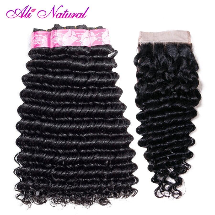 Ali Natural Deep Wave Bundles With Closure Indian Deep Wave Hair 5Pcs/Lot Non Remy Human Bundles With Closure Free Shipping