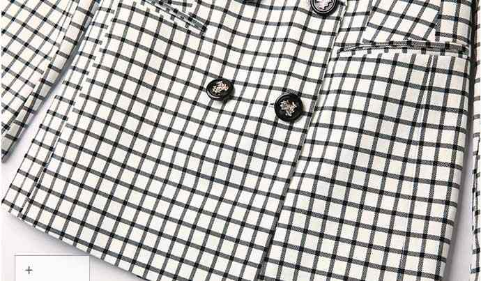 2019 女性の格子縞のスリムパンツスーツブレザーハイウエストパンツフルダブルブレストファムオフィス女性ツーピースセットホット販売 S96227Z