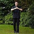 Black National Chinese Men Tai Chi Uniform Linen Kung fu Suit Mandarin Collar  Set Clothing M To XXXL NS004