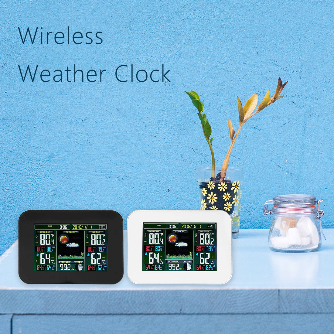 EU/US Plug Wireless Weather Station Temperature Humidity Sensor Colorful LCD Display Weather Forecast Clock In/outdoor protmex wireless rcc weather station temperature humidity sensor colorful lcd display forecast clock in outdoor