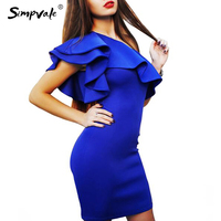 SIMPVALE Sexy Women Dress Sexy Shoulder Dresses Flouncing Package Hip Slim Solid Color Fashion Sexy Casual