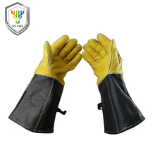 OZERO High Quality Work Cowhide Gloves Leather Best Barbecue Grill hearth Leather For Oven Kitchen Cotton With Long Sleeve  1101