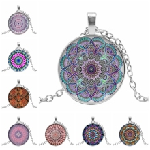 2019 New Indian Yoga Mandala Henna Flower Glass Convex Round Pendant Buddhist Chakra Dome Necklace Jewelry