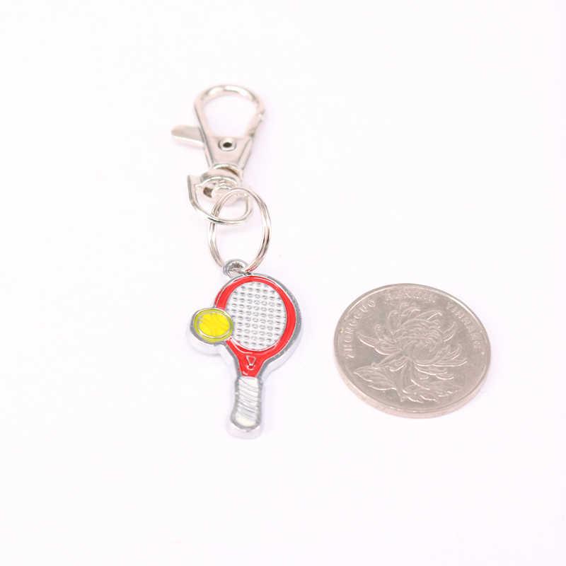 1 piezas raqueta de tenis encanto llavero para llaves coche llave anillo regalos de recuerdo de deporte clave cadena KC49
