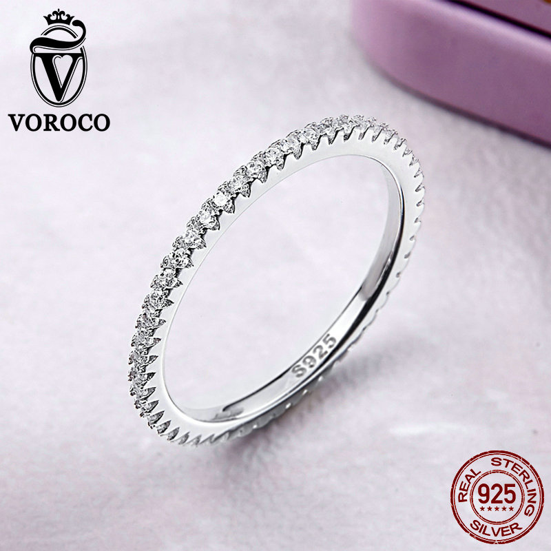 Image 5 - VOROCO Real 925 Sterling Silver  Simple Design Round Wedding Ring Glitter Clear CZ Crystal Rings Woman Fine  Jewelry BKR066-in Rings from Jewelry & Accessories