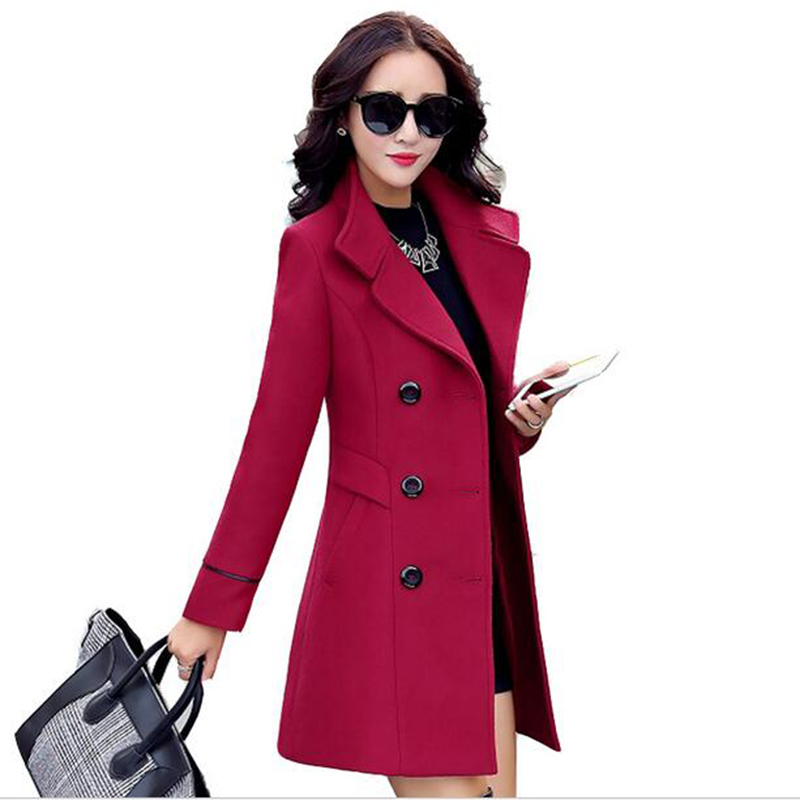 Autumn winter 2019 new fashion women's wool   coat   double breasted   coat   elegant bodycon cocoon wool long   coat   tops LU308
