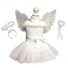 Girls White Sparkle Angel Costumes Feather With Wings And Fairy Wands Birthday Cosplay Tutu Dress Children Christmas Clothes
